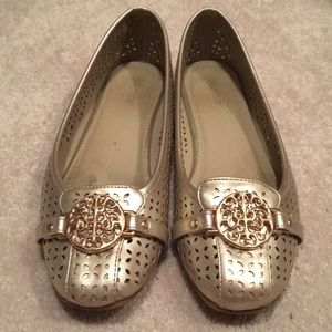 Wanted Brand Gold Detailed Buckle Flats Size 9